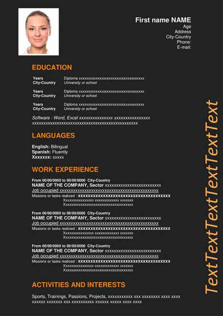 resume-template-word-dark-orange