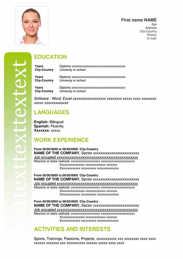 19-Resume-Essential-Green Cv Curriculum Vitae Write on formato de un, resume or, template word document, sample personal, standard format, formato de, en francais,