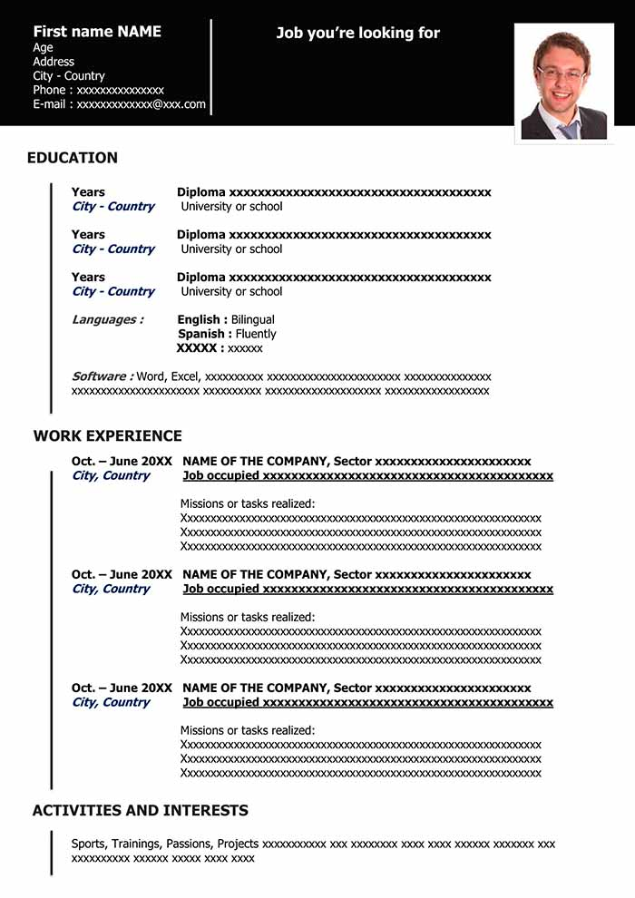 download the modern free resume sample you like for free in word format - Lebenslauf Word Download