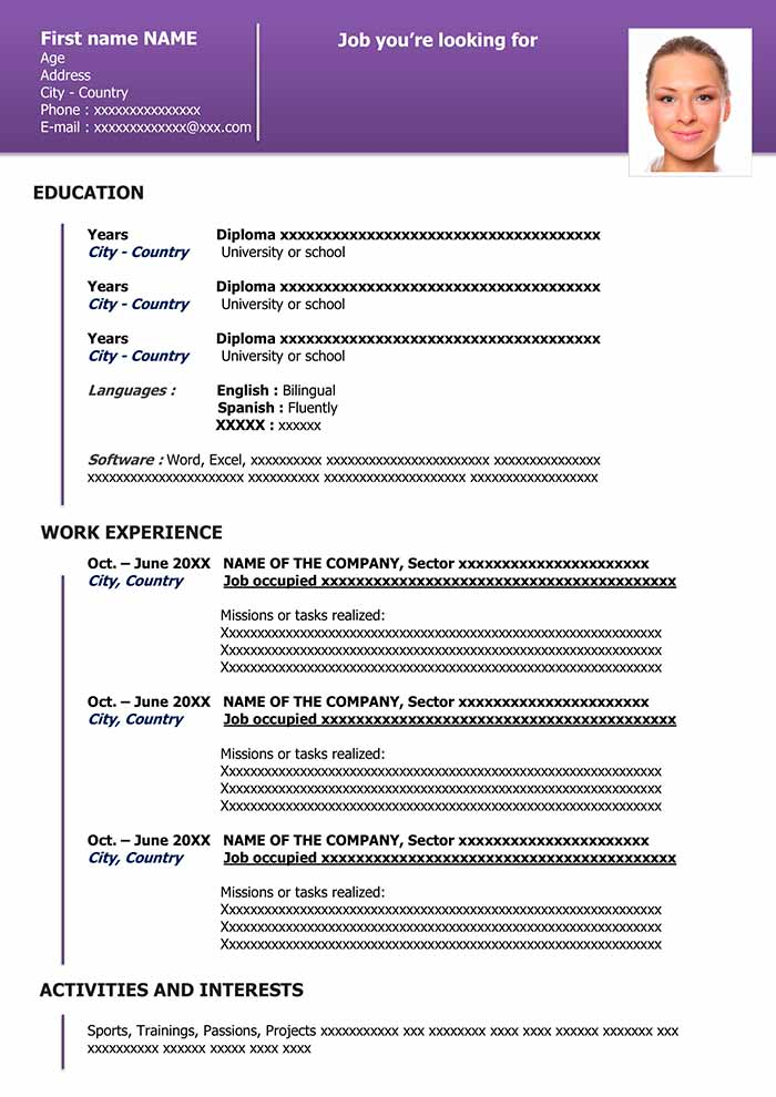 Resume Templates In Word  Download For Free
