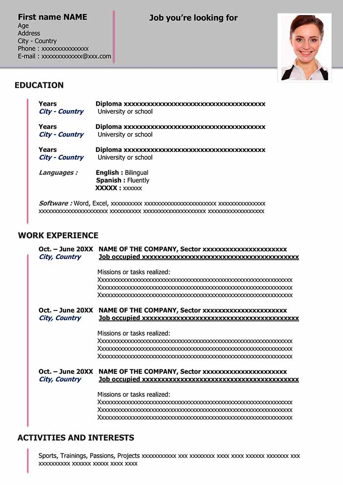 Simple Resume Template Download For Word Free Cv Format