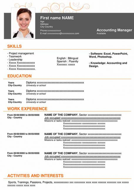 resume-template-word-hightech-orange