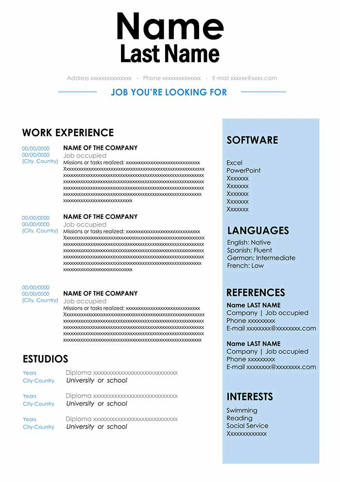 Cv Sample In Doc Format Download For Word Free Resume