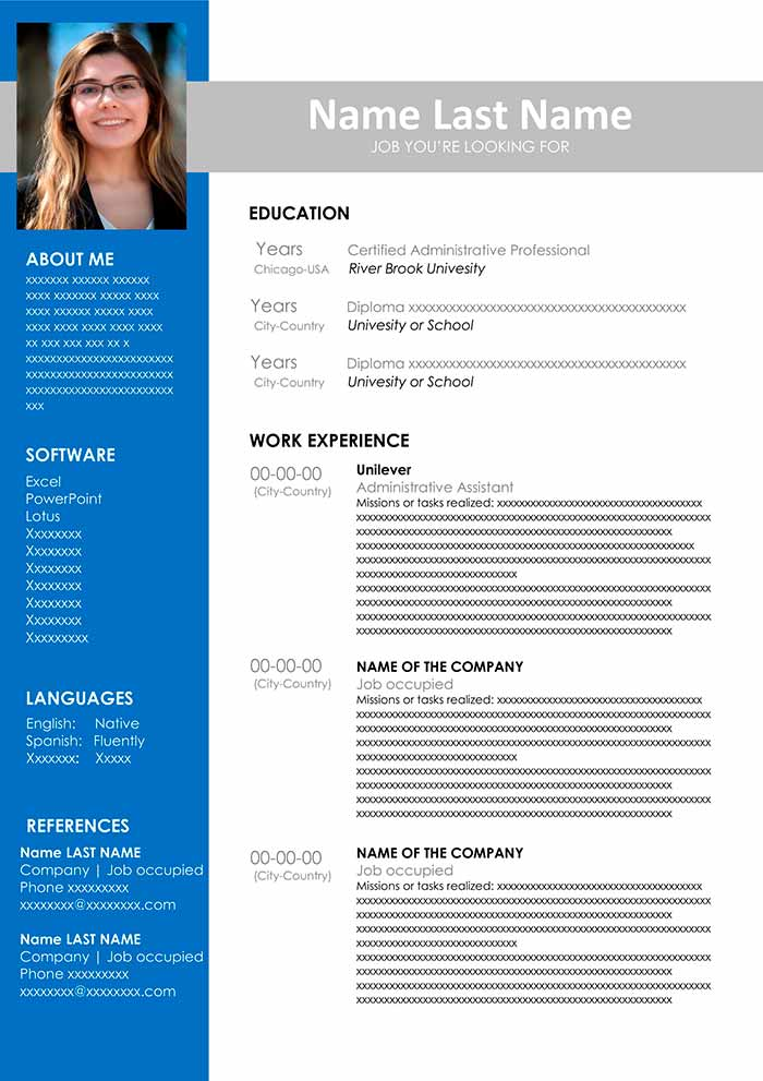 free cv template to fill out in word format