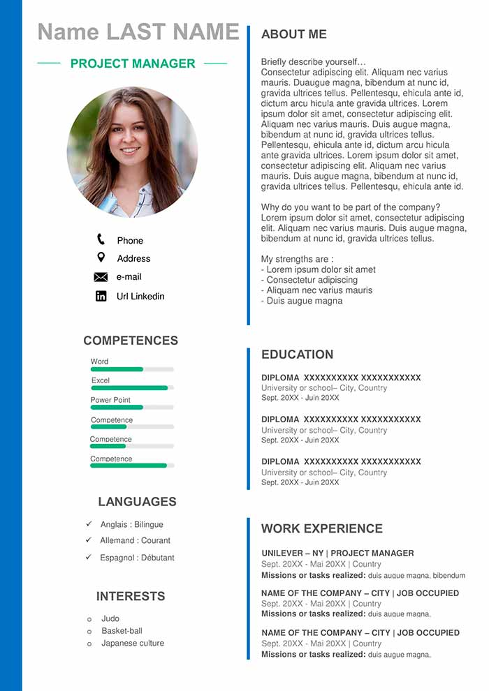 Project Manager Resume Template Download For Word Free Cv